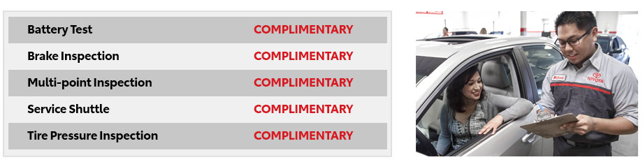 Complimentary Services List